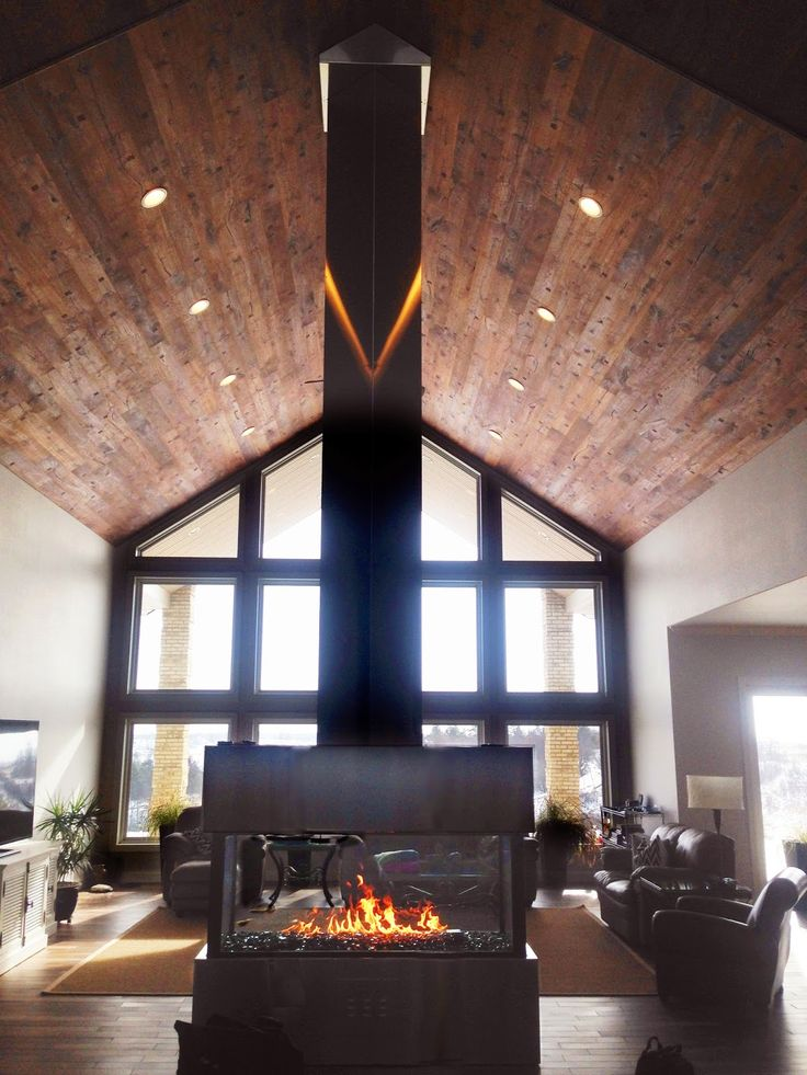 46 best custom gas fireplaces images on pinterest gas for Open sided fireplace