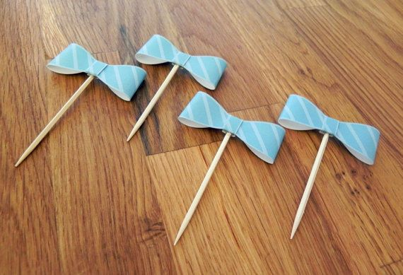 Party Pick: Little Man Bow Ties Baby Shower or Birthday Party die cut bow ties blue stripe pick mini cupcake topper on Etsy, $10.50
