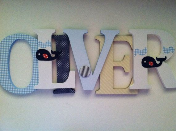 Nursery wooden  wall letters  Blue, navy, tan whale themed letters on Etsy, $16.00