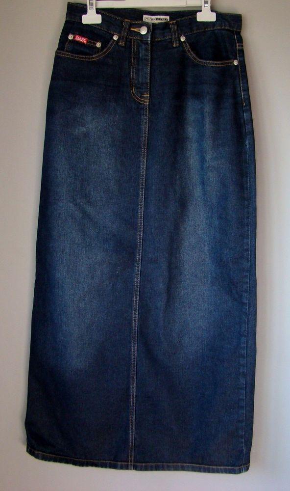 Maxi GONNA jupe rock skirt jeans DENIM blu scuro S M 40 42 LUNGA falda