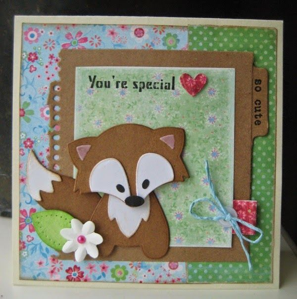 Card made by DT member Boukje with among others Collectables Eline's tab with text - UK (COL1315) and Fox (COL1355) by Marianne Design
