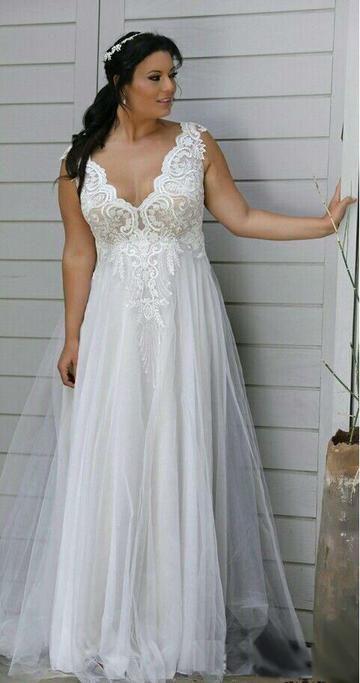 938cb0bd771 Mondainé Bridal Studio Plus Size Wedding Dress V Neck Backless Lace A Line  Wedding Gown