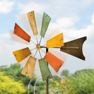 Windrad aus Eisenblech, klassische Gartendekoration, antik bemalt, ø 40 cm, Tiefe 45 cm, Stab 155 cm