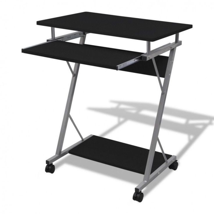 Computer Desk Work Station Furniture Office Student Table Pull Out Tray  Black PC