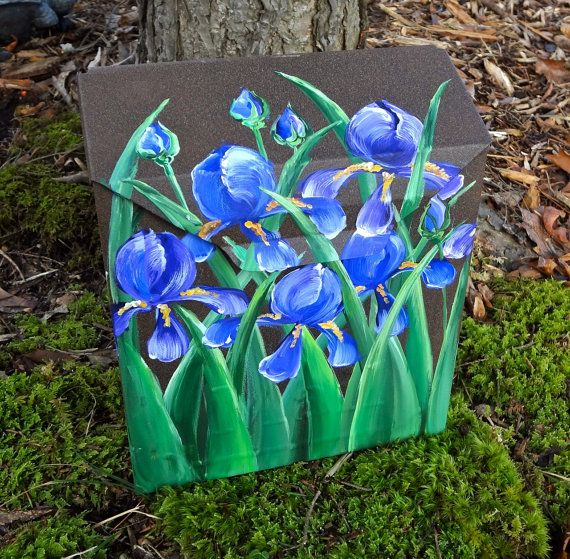 hand painted mailbox designs. Items Similar To Hand Painted Mailbox With Blue/Purple Iris On A BROWN Background Designer Wall Mount -Original Design Etsy Designs \