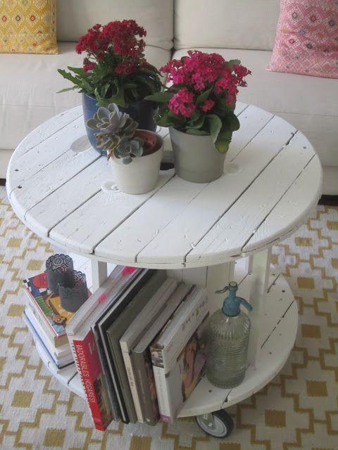 Mesa hecha con bobina a la venta en Deco & Living www.decoandliving.com