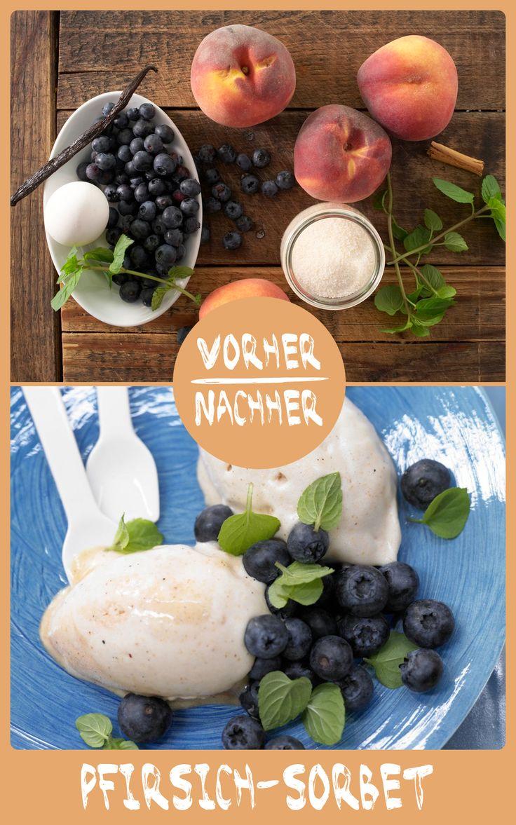 http://eatsmarter.de/rezepte/pfirsich-sorbet  Genau das Richtige bei warmen Temperaturen.