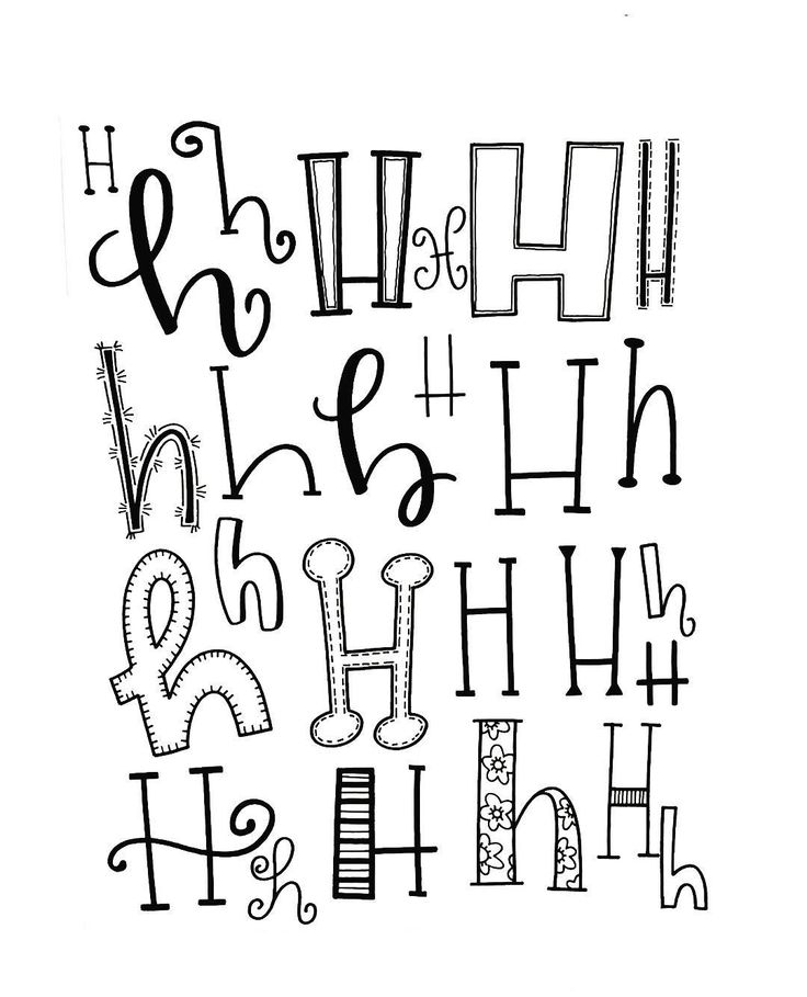 Verschiedene Möglichkeiten, den Buchstaben H zu lettern