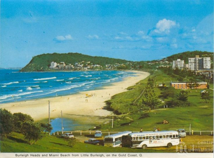 Burleigh Heads and Miami Beach from Little Burleigh c1968. Burleigh Heads, a coastal suburb on the Gold Coast, is 80 km south of central Brisbane. The Big Burleigh headland on the northern side of the mouth of the Tallebudgera Creek was described in 1840 by Robert Dixon during a survey of the coast between the Clarence and Brisbane Rivers. Dixon named the landform Burley Head.