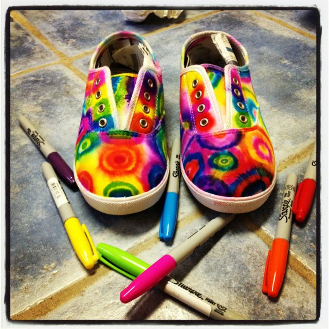DIY tie dyed shoes.  WIN!  Sharpies and alcohol.  Works on tshirts too.,