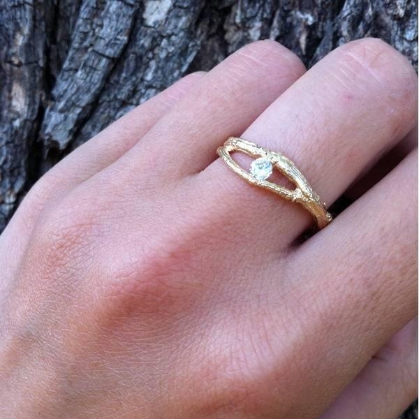 golden branches ring with zircon