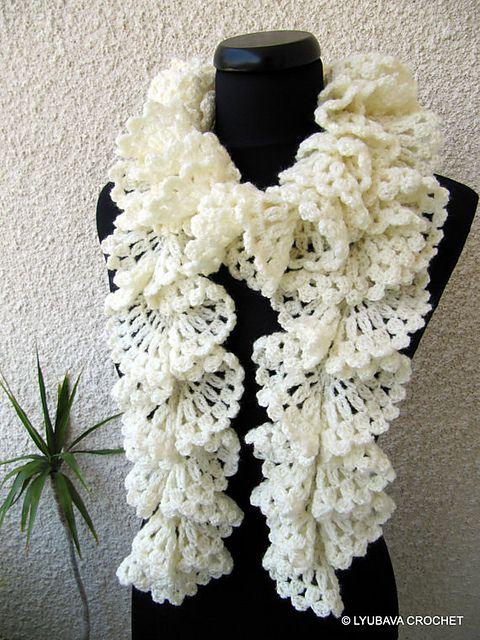 Ravelry: Marvellous Ruffle Lace Scarf Tutorial pattern by Lyubava Crochet  $4.99