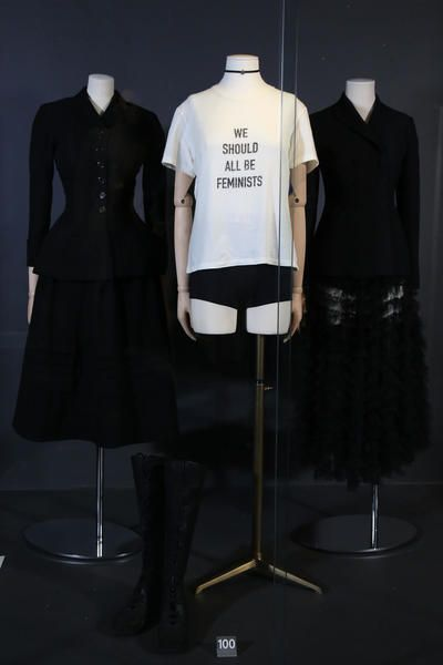 2017: Dior: White cotton 'We Should All Be Feminists' print T-shirt, worn with black wool jacket and black tulle skirt with black knitted underwear. Selector: Sarah Bailey, Red Magazine