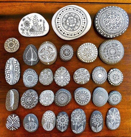 decorated pebbles.