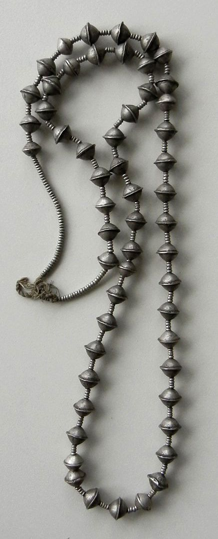 Necklace strand made up of silver beads from Ethiopia