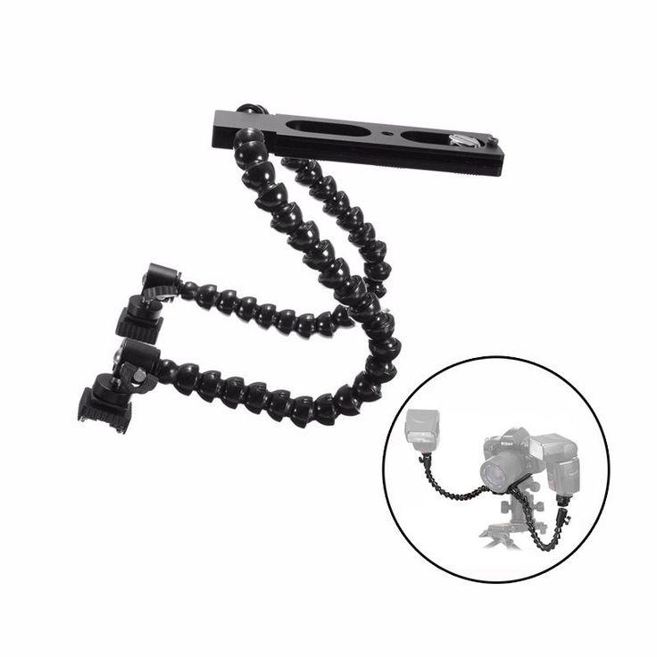 Soporte de flash de la cámara plegable de doble brazo flexible para CANON NIKON macro pentax