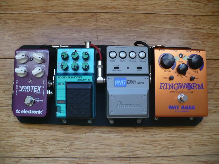 The latest version of my Experimental or Improvisational Pedal Board! Way Huge Ringworm, Ibanez PM7, Ibanez DML20, TC Electronic Vortex.  Cool!
