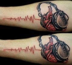 35 Incredible Music Tattoo Ideas and Designs - Notes, Instruments, Hearts Check more at http://tattoo-journal.com/35-best-music-tattoo-designs/