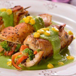 Rollitos de Pollo en Salsa de Poblano