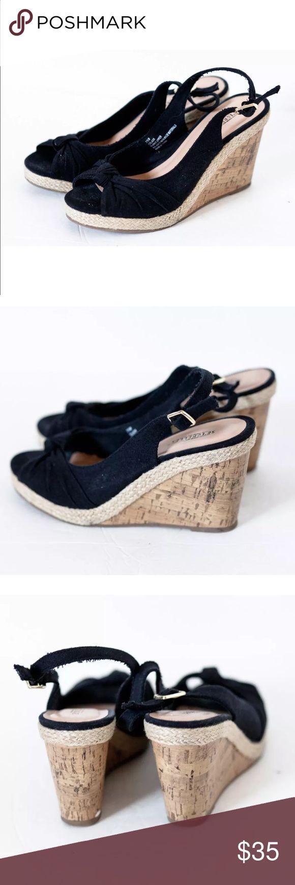 🆑Seychelles Colada Wedges Black Slingback Sandals Seychelles Colada Size 7.5M Women's Cork Wedges Black Canvas Slingback Sandals Seychelles Shoes Wedges