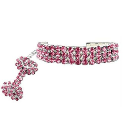 """PETFAVORITES™ Couture Designer Fancy 3 Rows Rhinestones Pet Cat Dog Necklace Collar Jewelry with Bling Crystal Bone Charm Pendant for Pets Cats Small Dogs Female Puppy Chihuahua Yorkie Girl Costume Outfits, Adjustable and Handmade (Pink, Neck Size: 6""""- 8"""") - http://www.thepuppy.org/petfavorites-couture-designer-fancy-3-rows-rhinestones-pet-cat-dog-necklace-collar-jewelry-with-bling-crystal-bone-charm-pendant-for-pets-cats-small-dogs-female-puppy-chihuahua-yorkie-girl-co/"""