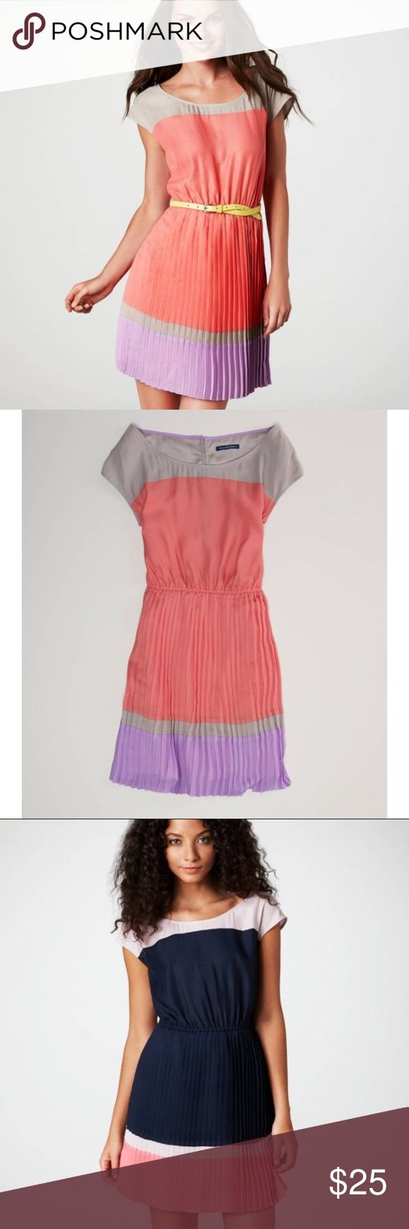 "American Eagle Outfitters AE Colorblock Dress S NEW WITHOUT TAG American Eagle Outfitters AE Open Back Pleated Colorblock Dress  Color: Pink  Size: S/P  SOLD OUT IN STORES AND ONLINE!!  Pretty in pleats.  100% Polyester Soft satin.  Bold colorblocking.  Scoop neck.  Cap sleeves.  Sexy open back.  Accordion-pleated skirt.  Three-button closure at neck.  Lined.  31"" from center back.  Imported,  Machine Wash. American Eagle Outfitters Dresses"