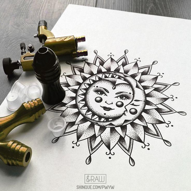 Sun and Moon mandala tattoo design / designed by RAW