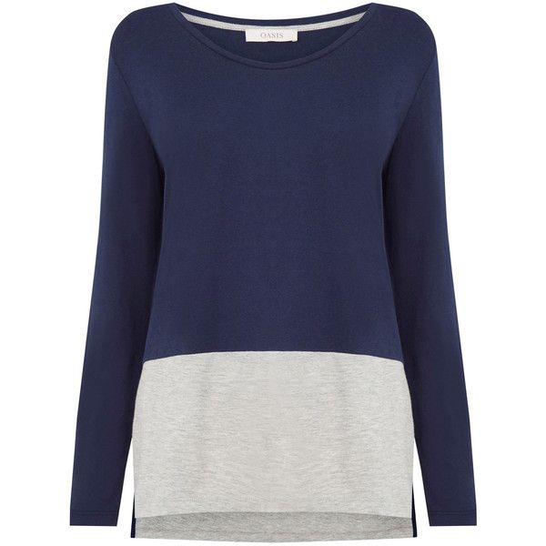 OASIS Colour Block V Neck Top (€17) ❤ liked on Polyvore featuring tops, blue, slouchy tops, blue top, color block top, blue long sleeve top and block tops