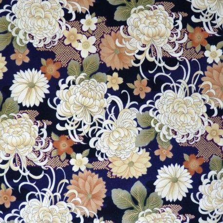 Tissu japonais violet foncé noir et doré chrysanthèmes