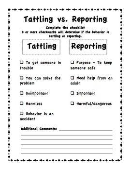 Tattling vs. Reporting, GREAT way to explain it