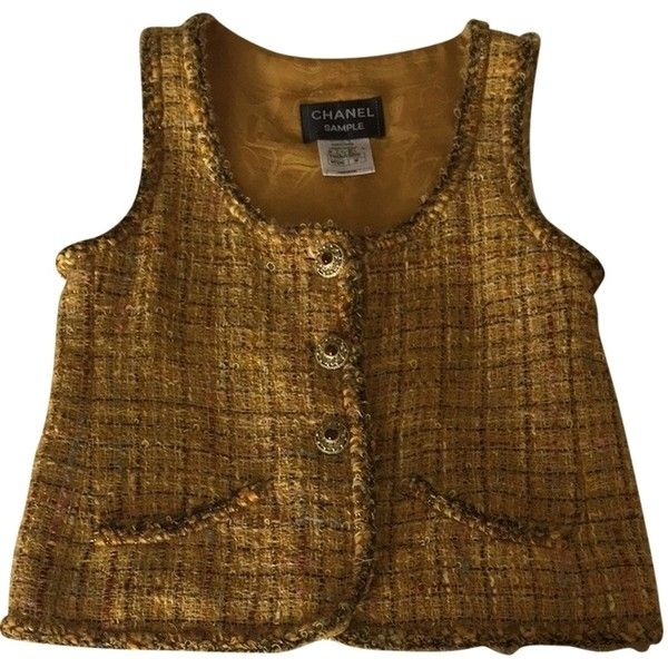 Pre-owned Chanel Vest (€510) ❤ liked on Polyvore featuring outerwear, vests, yellow, yellow vest, brown tweed waistcoat, brown tweed vest, pocket vest and tweed vest