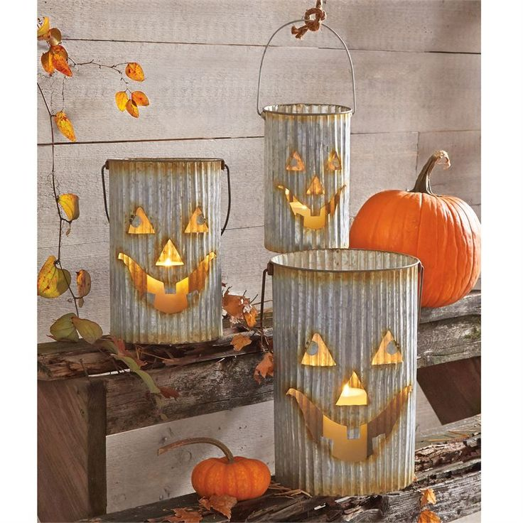 Tin Jack-O-Lantern Luminary Set | Halloween Home Decor | Pumpkins