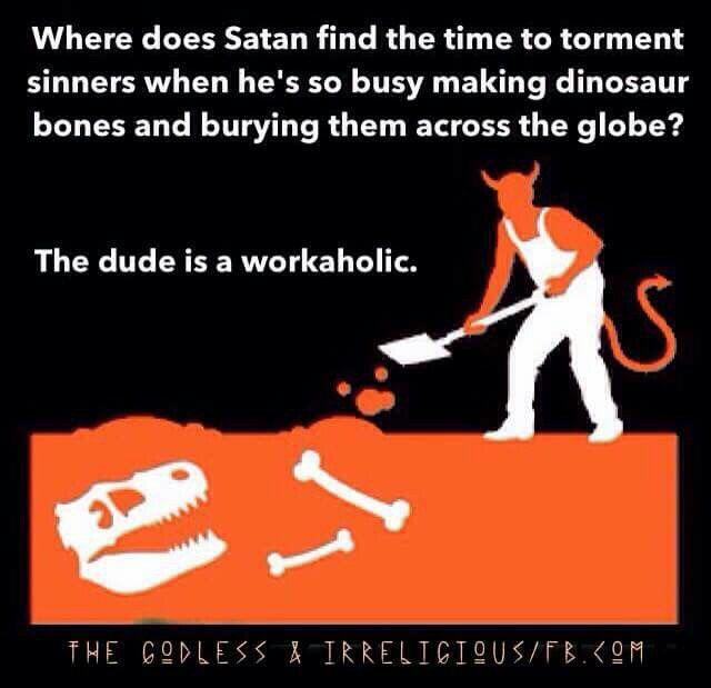 Why, to creationists, are dinosaur bones the work of the devil?