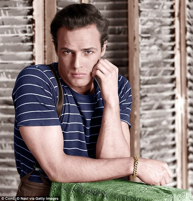 Marlon Brando in navy hooped shirt