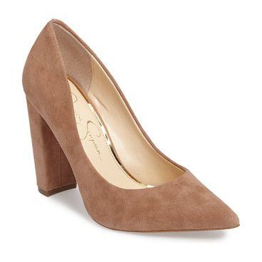 tanysha pointy toe pump by Jessica Simpson. A trend-right pointy toe and a tall block heel define this day-to-night pump finished in luxe suede.