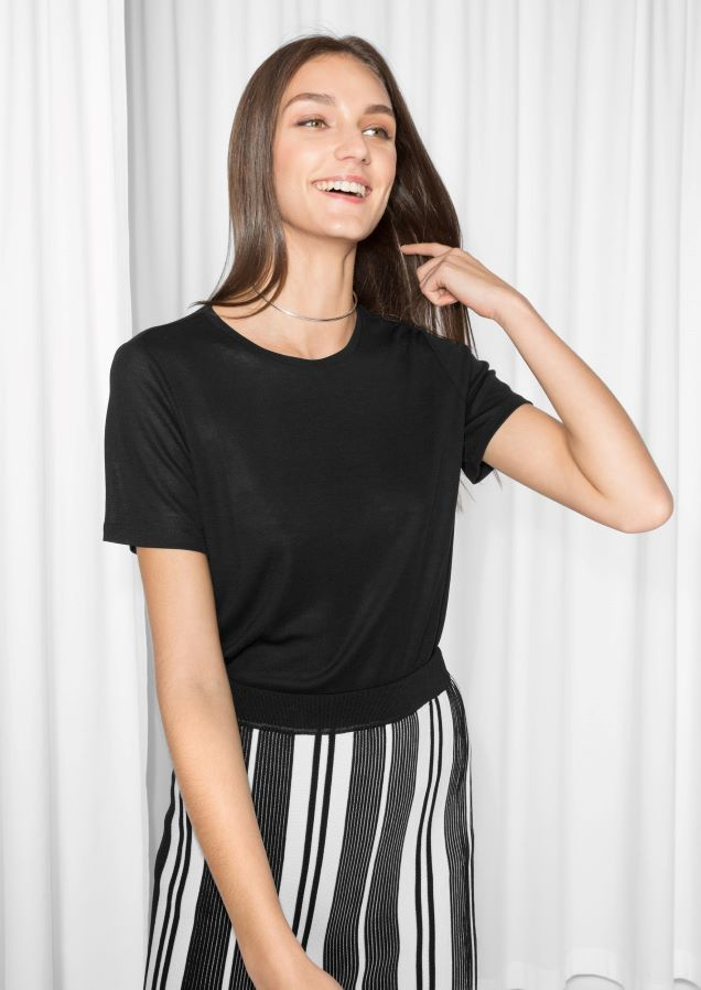 & Other Stories image 2 of Rib Tencel T-shirt in Black