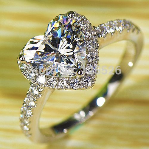 Victoria Wieck Heart shape White Topaz Simulated diamond 925 Sterling Silver Wedding Ring Sz 7-13 Free shipping gift