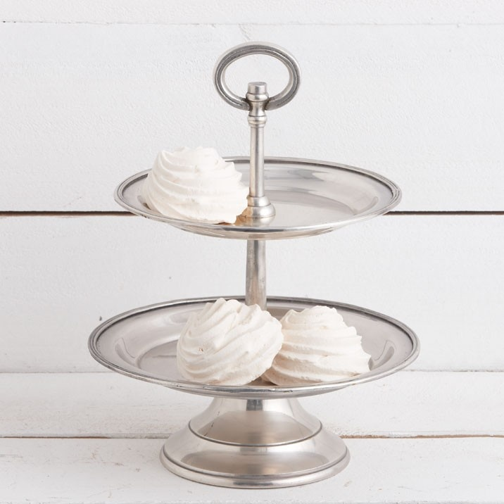 Pewter Cake Stand 2 Tier