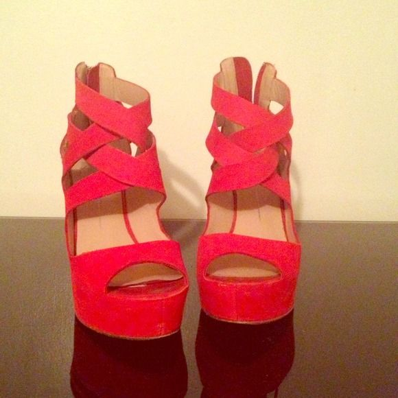 Dolce Vita Red Wedge Shoe! Red wedge with zip tassel.  Comes with box. Dolce Vita Shoes Wedges