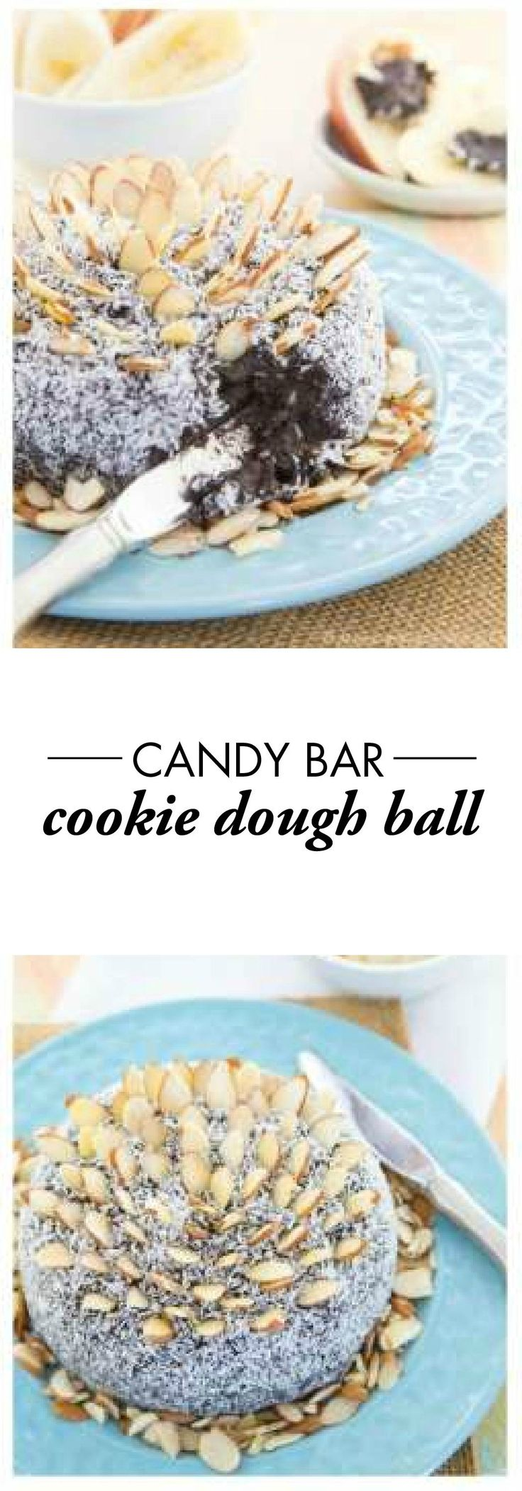 Flourless Candy Bar Cookie Dough Ball — The classic combination of chocolate, coconut, and almonds makes this decadent dessert dip so delicious! Make sure you have some Town House Pretzel Thins for an incredible combination of sweet and salty at your Easter gathering.