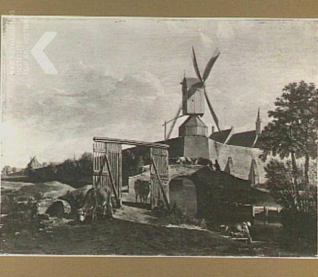 Gerrit Adriaensz. Berckheyde, Gezicht op de stadswallen van Haarlem met de Pinkmolen, 1653 - 1698, paneel, olieverf, 41,3cm x 62,9cm. Philadelphia Museum of Art. Gezicht op de noordelijke stadswal van Haarlem met op de voorgrond de brug over de Kerfsloot (nu Kinderhuisbrug) en van links naar rechts de Janspoort, de Kruispoort, het torentje van het Heilige Geesthuis, de Pinkmolen en het Arme Kinderhuis.