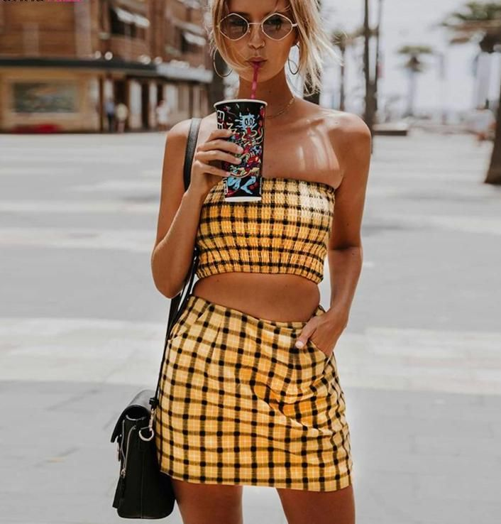 acca67b1e714 Plaid Tube Top Skirt Two Piece Set in 2019 | Summer Outfits | Yellow ...