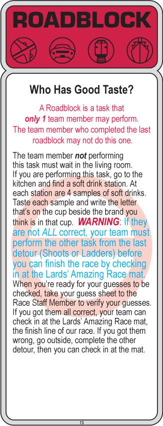 Clue 13 great idea for soft drink taste test -and basketball challenge