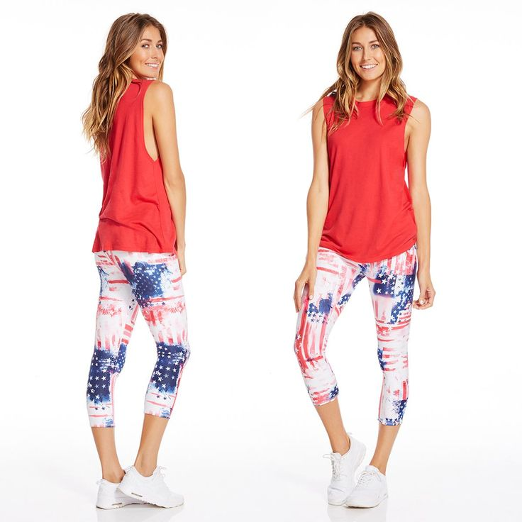 Celebrate the 4th of July in Red, White & Blue American flag print leggings!  | Fireworks Outfit - Fabletics.com