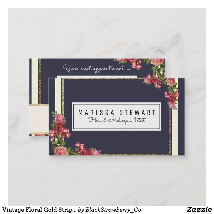 Vintage Floral Gold Stripes Appointment Card AD-This modern and country flowers with faux printed gold with black and white stripes, appointment card is perfect for the trendy and stylish business owner. This fashionable and professional looking card is the perfect way to show your customers you care about their business. Customize this card for any business, just edit the text and add your own personal details.