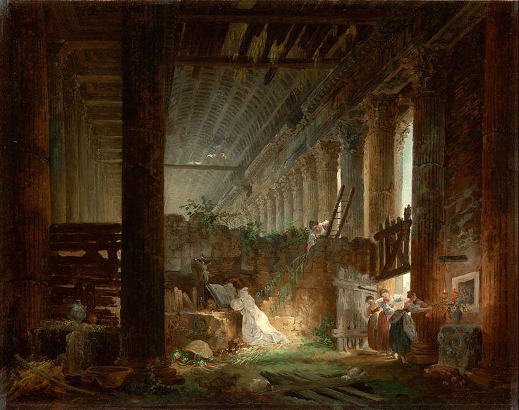 Hubert Robert (French - A Hermit Praying in the Ruins of a Roman Temple - Google Art Project - Hubert Robert - Wikipedia