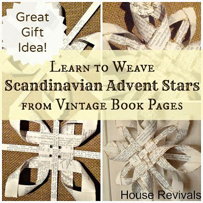 Beautiful woven advent star using vintage book pages.