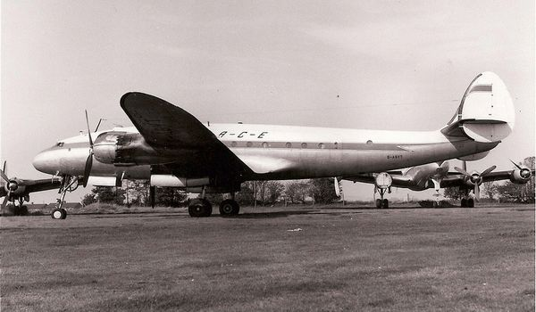 Former South African Airways L-749A Constellation G-ASYT in company with other examples at Coventry in 1965. (Ian MacFarlane)