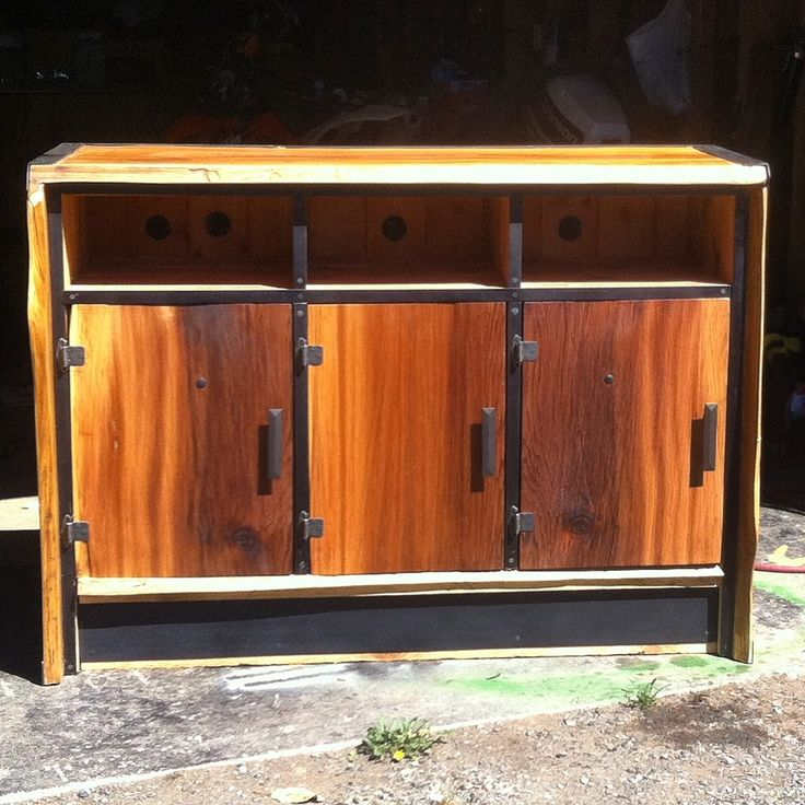 Old Growth Red Cedar Live Edge Entertainment Centre with Black Iron