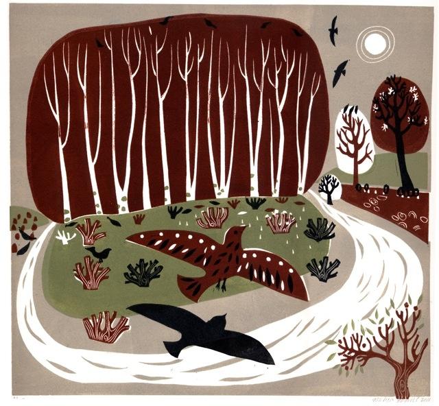 melvyn evans - lino print - birds in landscape